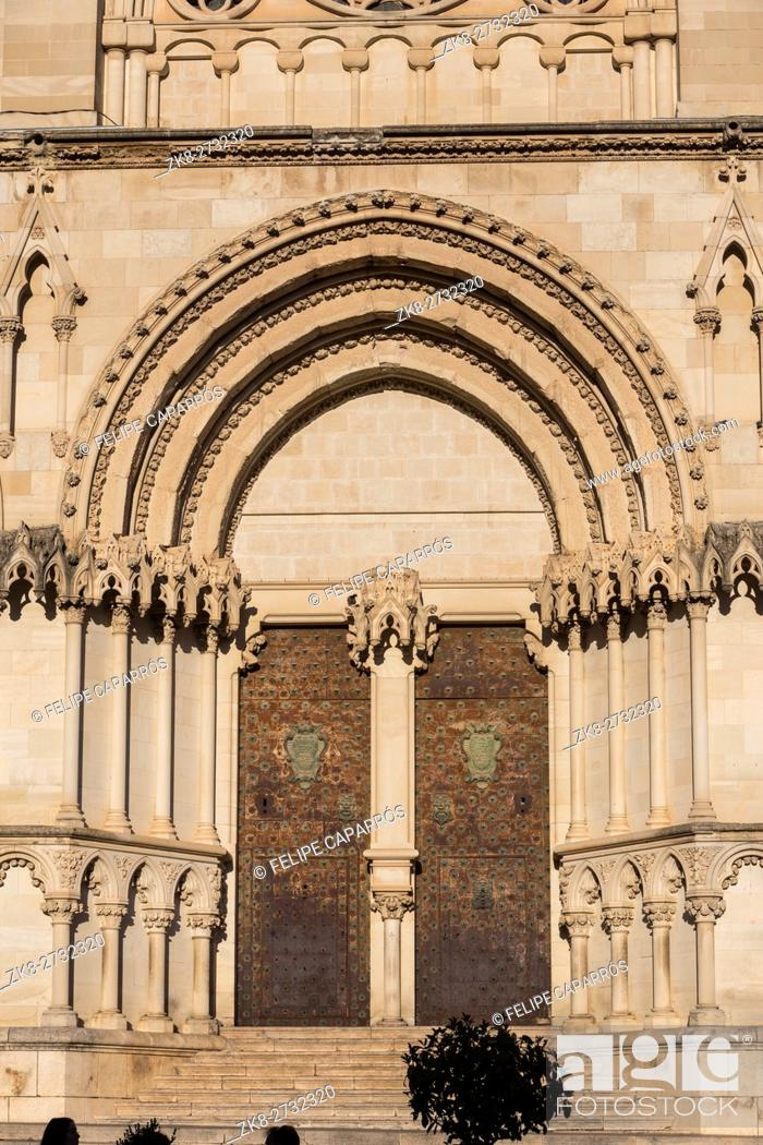 Stock Photo: Detail of facade of the Cuenca's Cathedral, The cathedral is dedicated to St Julian, gothic english-norman style, XII century.
