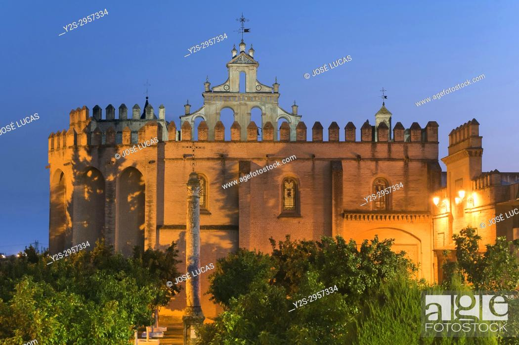 Stock Photo: Monastery of San Isidoro del Campo at dusk - founded in 1301, Santiponce, Sevilla province, Region of Andalusia, Spain, Europe.