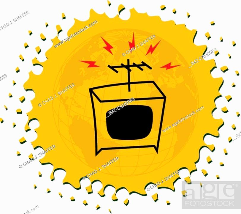 Stock Photo: Drawing of a television on yellow background.