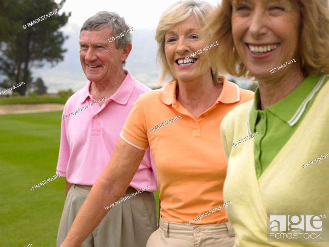 Stock Photo: Happy golfers.