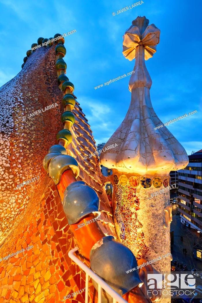 Stock Photo: Casa Batlló by Antoni Gaudí architect 1904-1906, Passeig de Gracia, Barcelona, Catalonia, Spain.