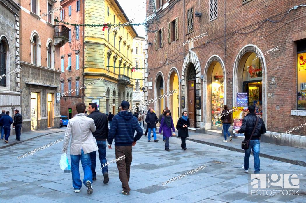Stock Photo: Via Pianigniani street Siena Tuscany central Italy Europe.