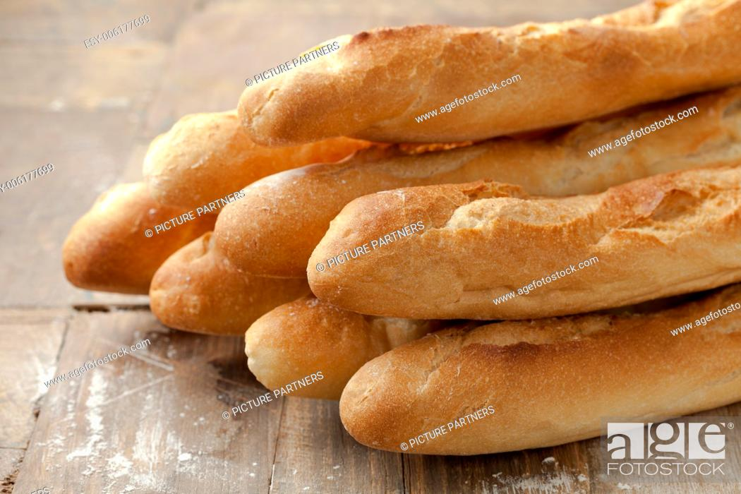 Photo de stock: French baguettes on the table.