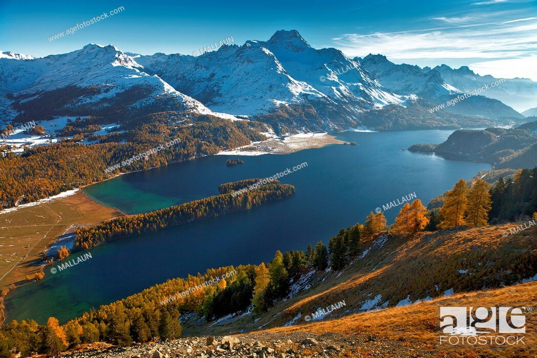 Stock Photo: Lake Sils, Engadine, Grisons, Switzerland.