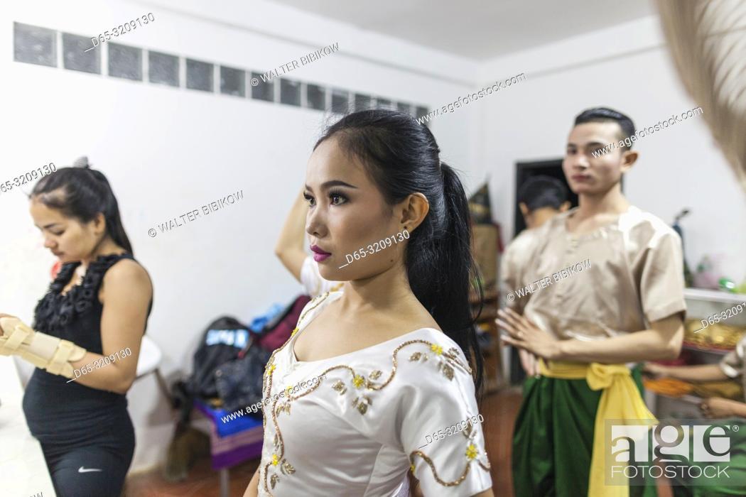 Stock Photo: Cambodia, Battambang, Phar Ponleu Selpak, arts and circus school, dancers in costume before circus performance, ER.