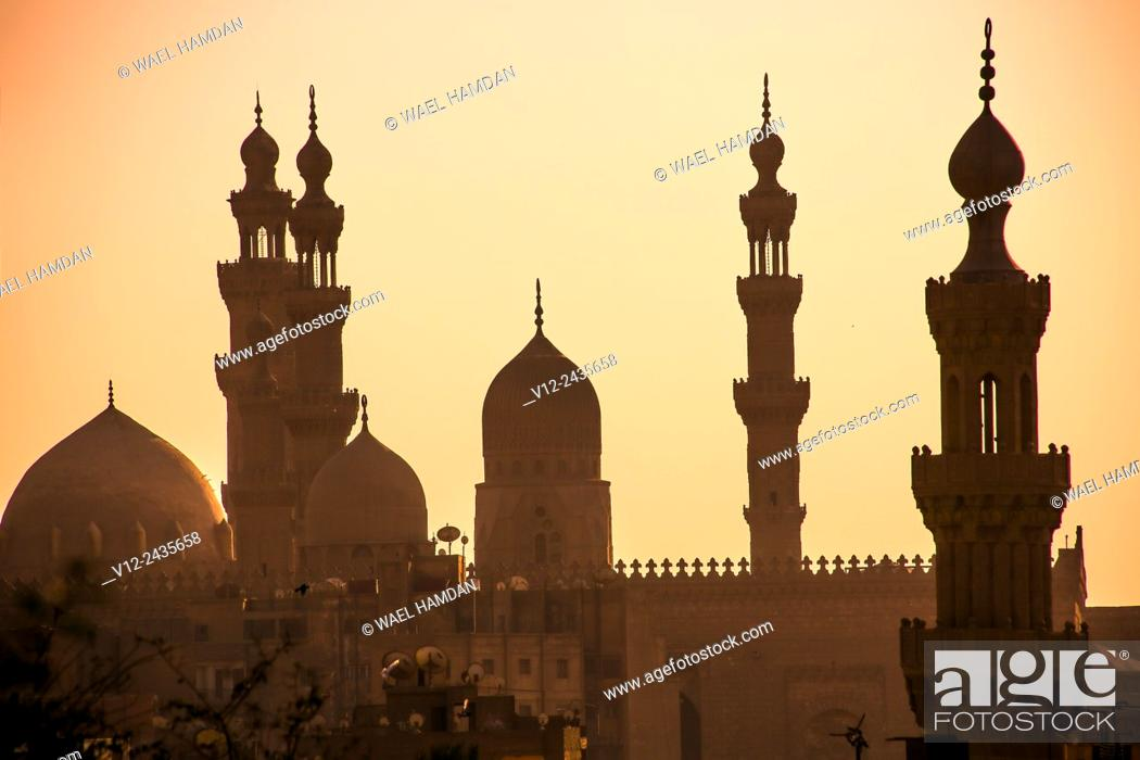 Stock Photo: Minarets of Hassan mosque and el rifaie mosque. cairo. at sunset, view from citadel.