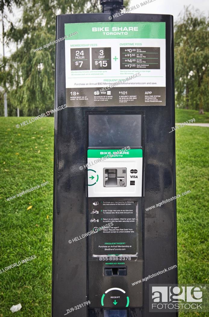 Stock Photo: Bike Share Toronto self service vending machine, Toronto, Ontario, Canada.