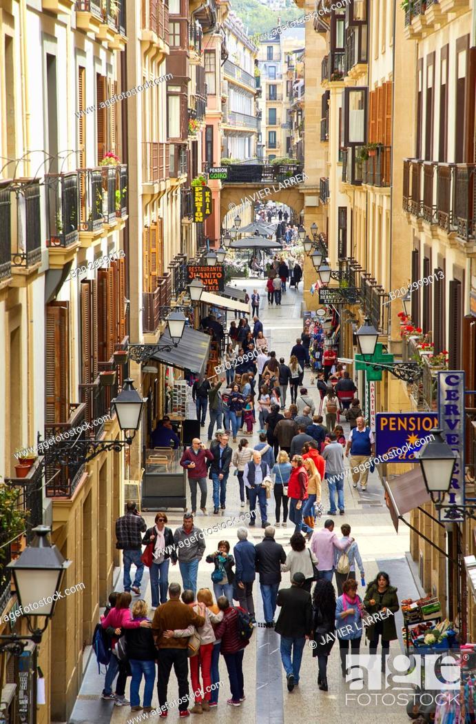 Stock Photo: Portu Kalea, Calle Puerto, Parte Vieja, Old Town, Donostia, San Sebastian, Gipuzkoa, Basque Country, Spain.