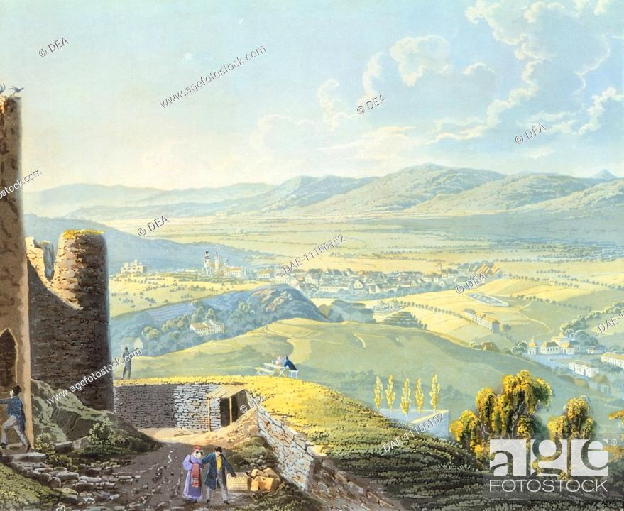 Stock Photo: View of Teplitz in Bohemia with the ruins of the castle, Czech Republic 19th Century.