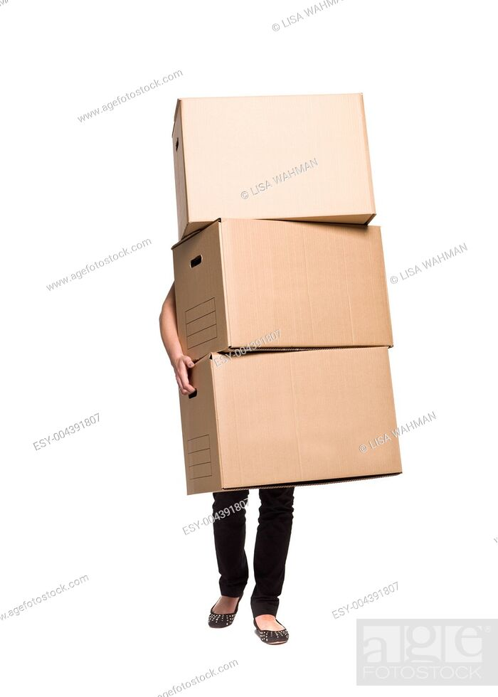 Stock Photo: Woman with three boxes.