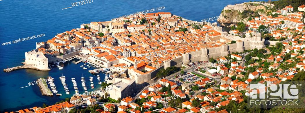 Stock Photo: Arial view of Dubrovnik old town - Croatia.