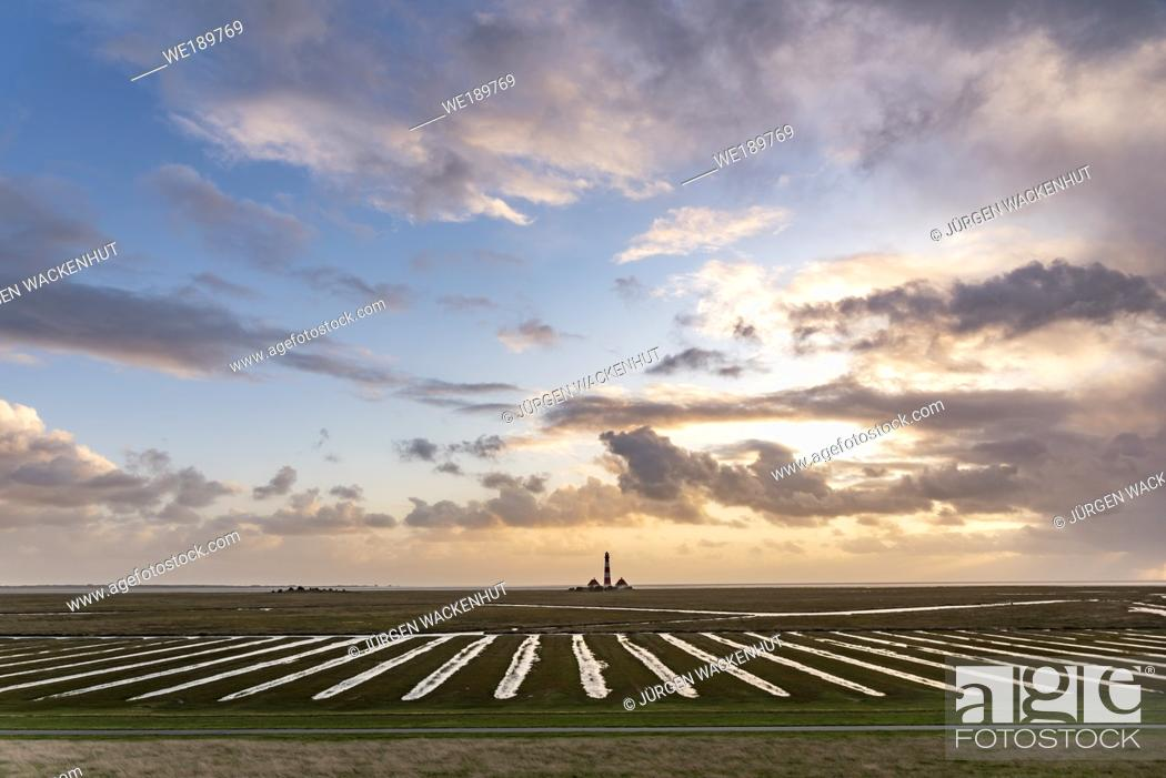 Stock Photo: Lighthouse Westerherversand, Westerhever, North Sea, Schleswig-Holstein, Germany, Europe.