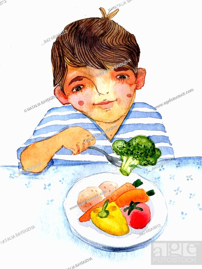 Stock Photo: Young boy eating plate of vegetables.