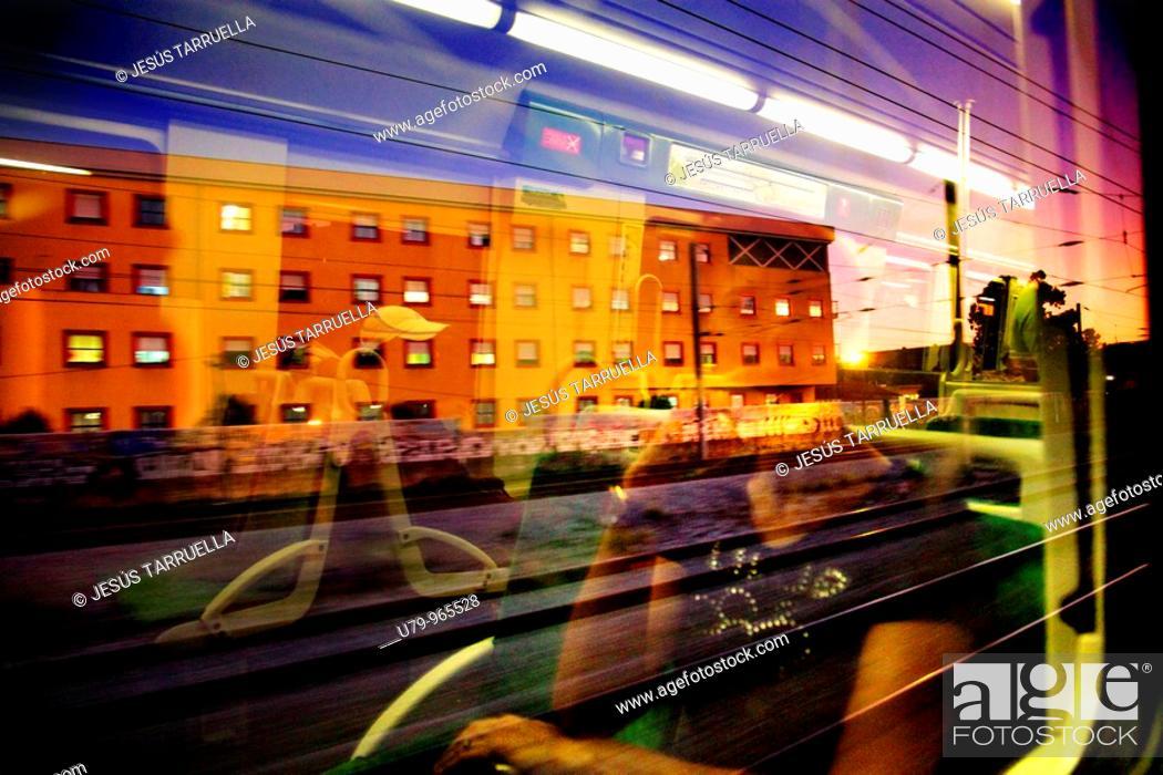 Stock Photo: Paisaje reflejado desde el interior del vagón  Ferrocarriles de Lisboa  Portugal  Europa.