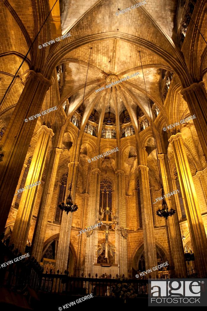 Stock Photo: Interior of Barcelona Cathedral Church in Barcelona, Catalonia, Spain.