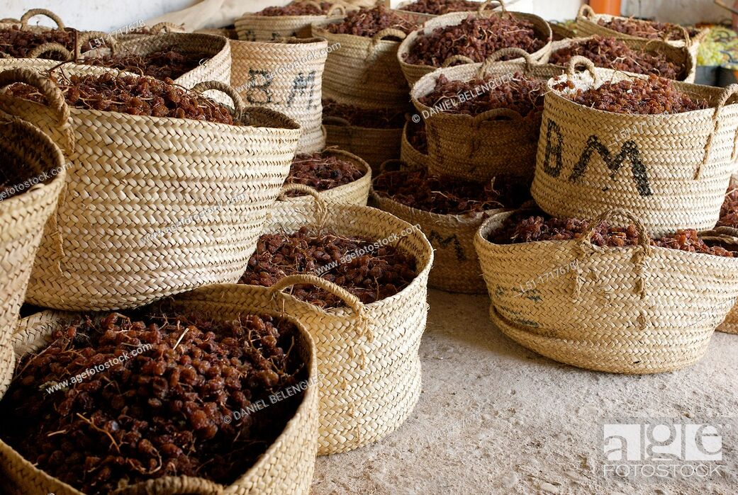 Stock Photo: Dried Moscatel grapes in baskets, Lliber, Alicante, Spain.