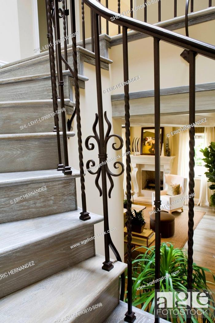 Detail Wooden Staircase With Wrought Iron Railing Foto De Stock Imagen Derechos Protegidos Pic Shl Leh1 L090810 S098 Agefotostock