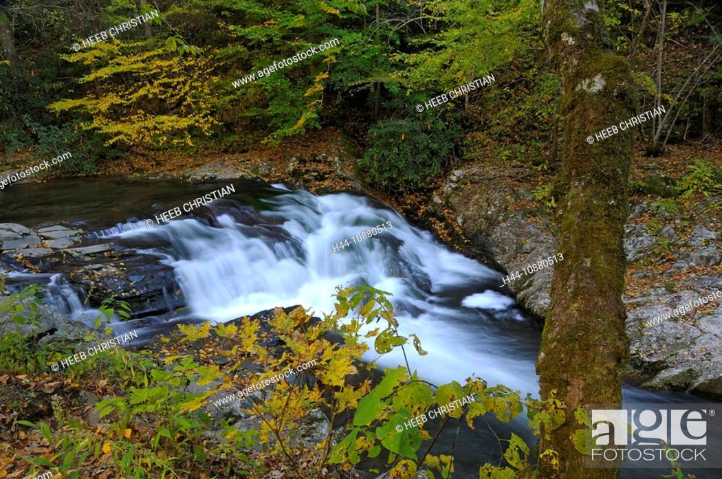 Stock Photo: Laurel Creek Waterfall, Great Smoky Mountains National Park, Tennessee, USA.