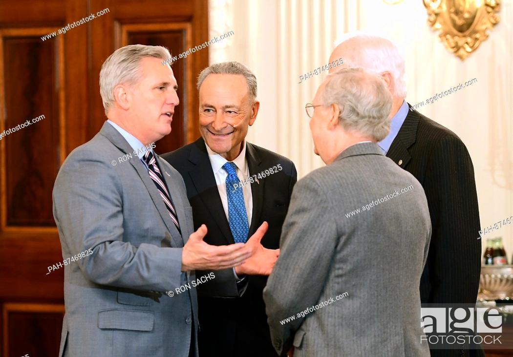 Stock Photo: United States House Majority Leader Kevin McCarthy (Republican of California), left, engages in conversation with US Senate Minority Leader Chuck Schumer.