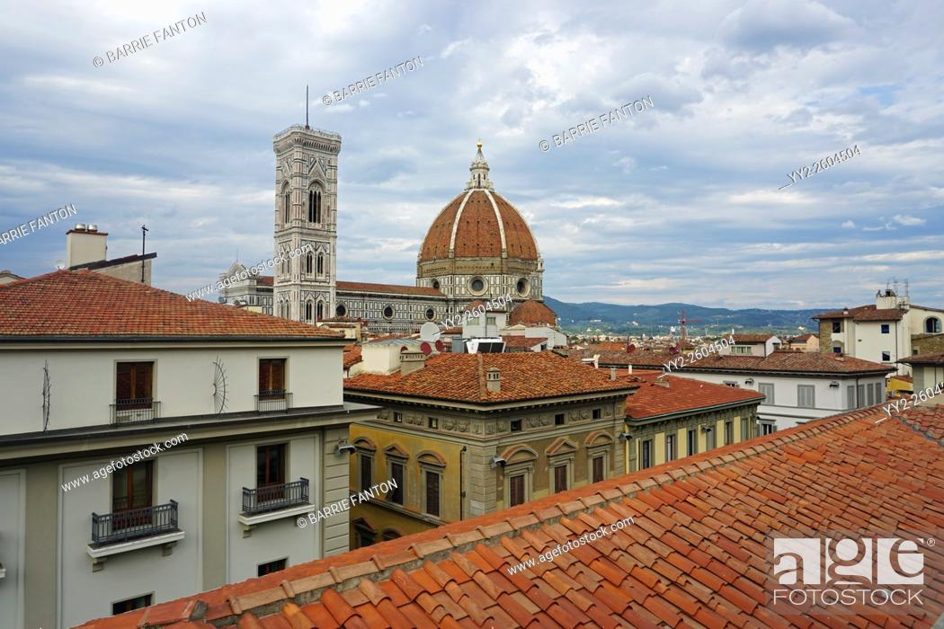 Stock Photo: Rooftops and Duomo, Florence, Italy.