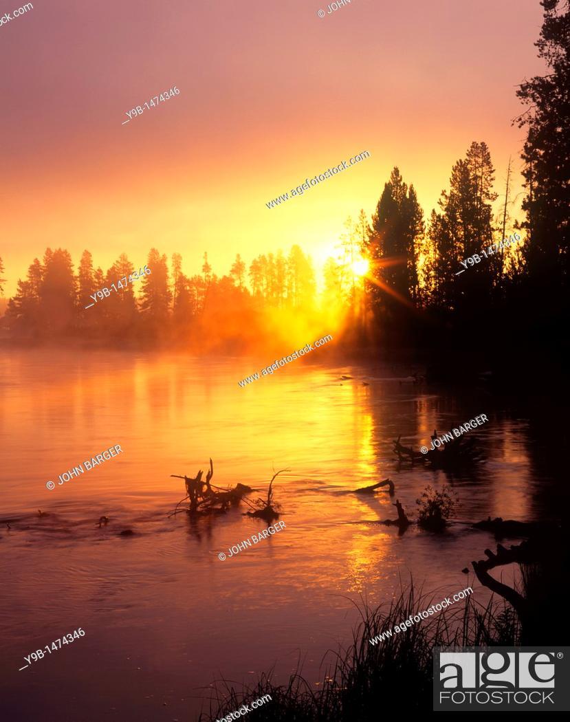 Stock Photo: Rising sun breaks through morning fog along the Deschutes River, near Besson Camp, Deschutes National Forest, Oregon, USA.