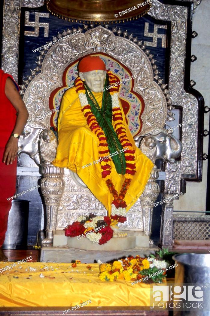 stock photo statue of lord sai baba shirdi nashik maharashtra india