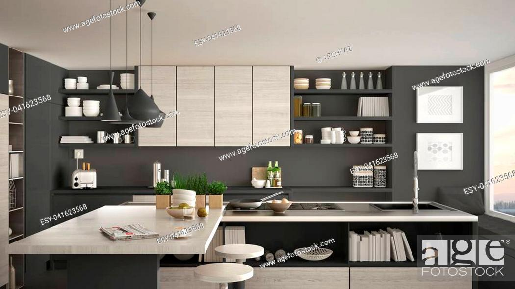 Stock Photo: Modern wooden kitchen with wooden details, close up, island and gas stove with cooking pan, white and gray minimalistic interior design.