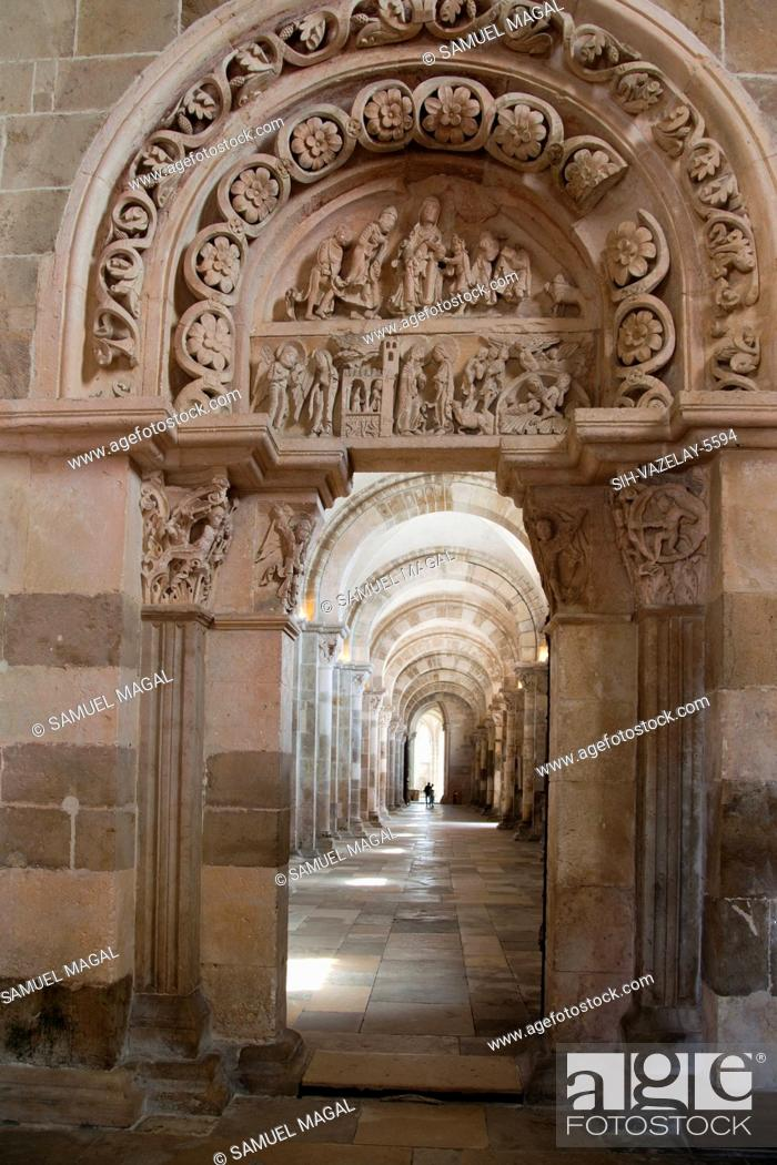 Stock Photo: The Abbey was built between the end of the 11th Century and the end of the 12th Century. The portal's tympanum tells in detail the infancy of Jesus.