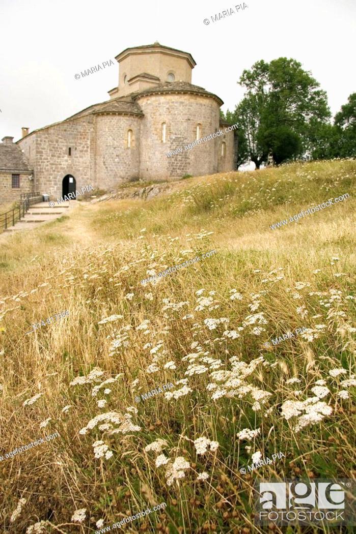 Stock Photo: Sanctuary of San Miguel de Aralar, Mount Artxueta, Lekunberri, Navarra, Spain.
