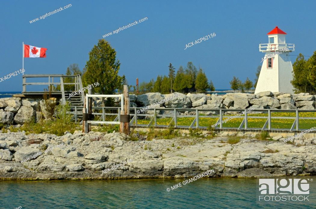 Stock Photo: lighthouse on Georgian Bay at South Baymouth on Manitoulin Island, Ontario, Canada.