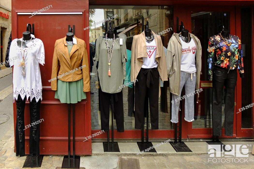 Stock Photo: An outdoor display of women's clothing at a shop in Pezenas, France.