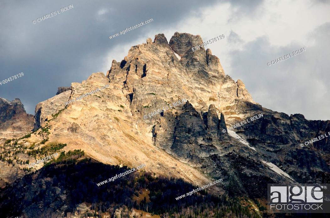 Stock Photo: Mount Teewinot and cloud shadows, Grand Teton National Park, Wyoming, USA.