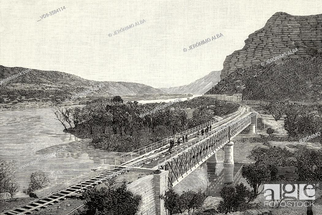 Stock Photo: Zaragoza-Barcelona railway line, Spain. Old XIX century engraved illustration from La Ilustracion Española y Americana 1894.