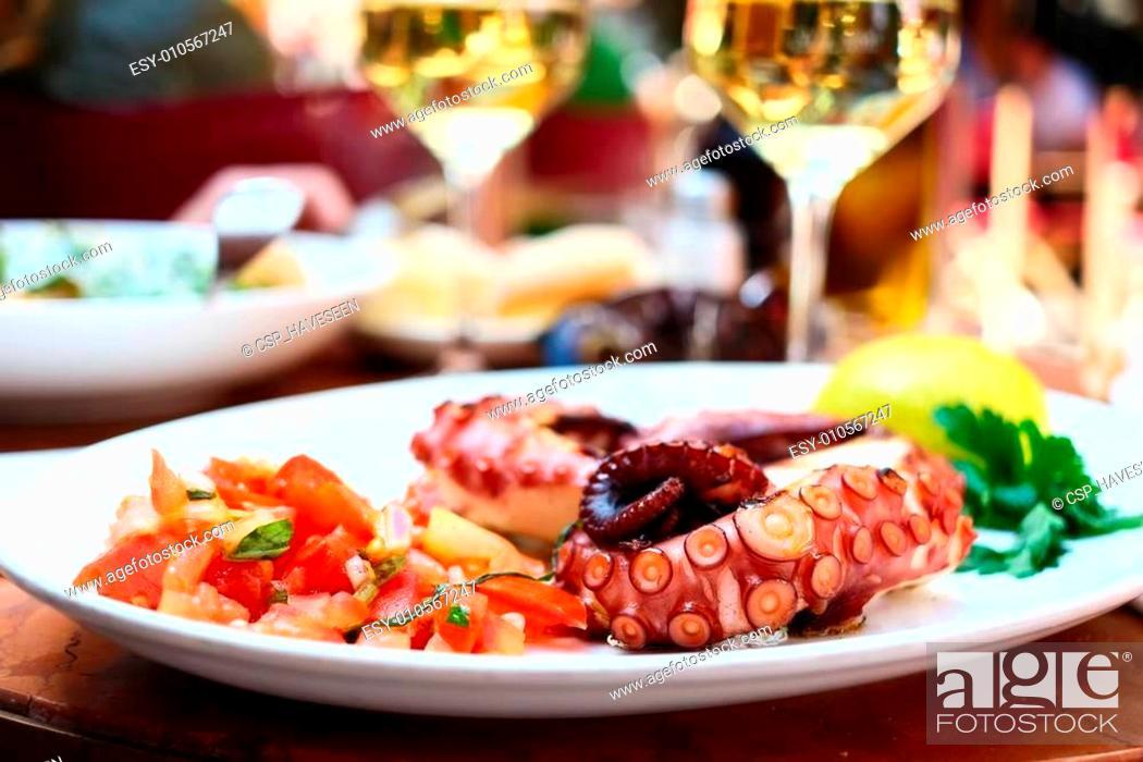 Stock Photo: Octopus salad close up.