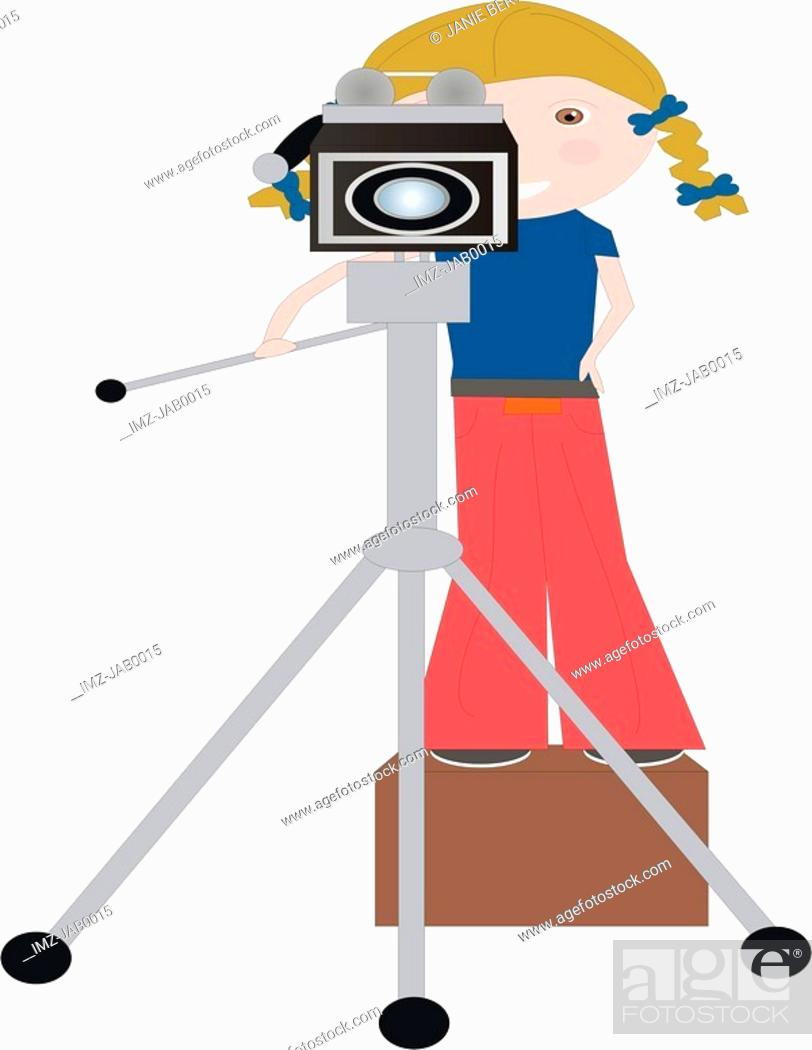 Stock Photo: A little photographer standing on a platform to reach her camera.