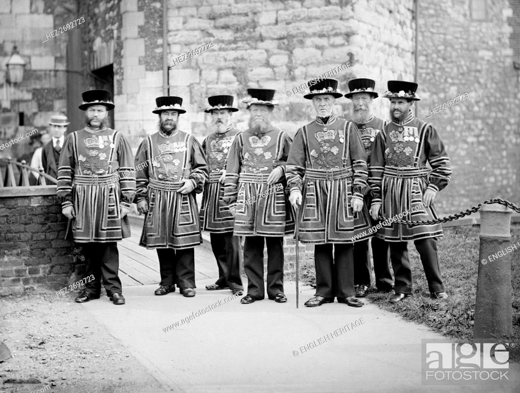 Stock Photo: Yeomen Warders at the Tower of London, c1870-c1900. Artist: York & Son.