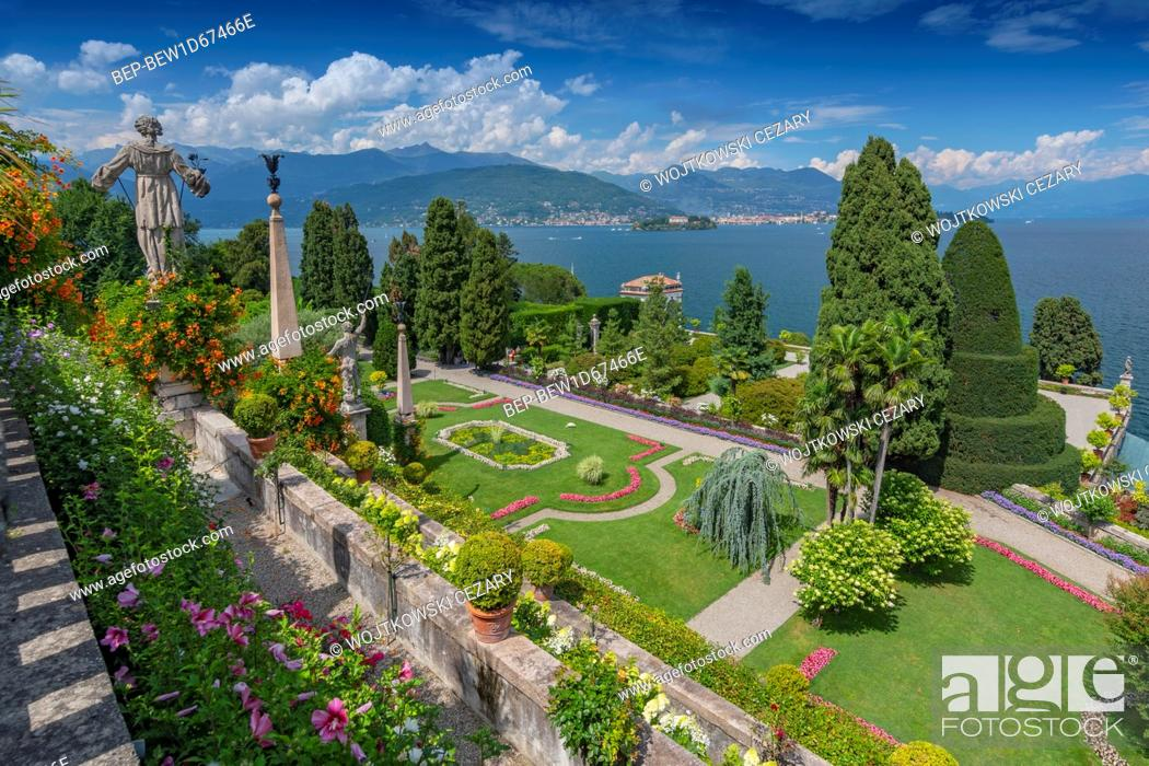 Stock Photo: Garden and statues on Isola Bella overlooking Lake Maggiore, Italy.