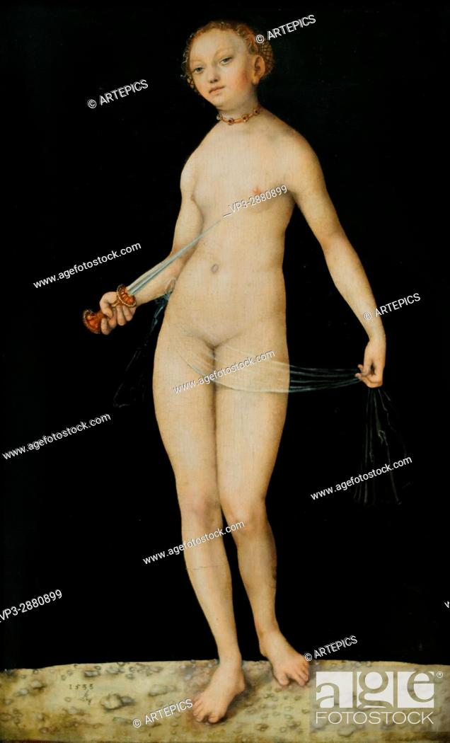 Stock Photo: Lucas Cranach - Lucretia - 1533 - XVI th Century - German School - Gemäldegalerie - Berlin.