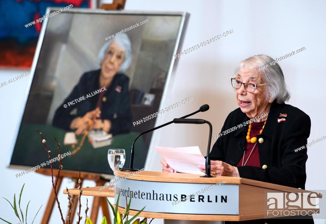 Stock Photo: 09 March 2020, Berlin: Margot Friedländer speaks at the ceremonial unveiling of her portrait of honorary citizen in the Berlin House of Representatives.