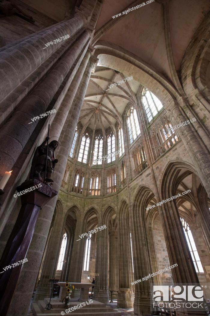 Interior View Of Mont Saint Michel Abbey Normandy France Stock