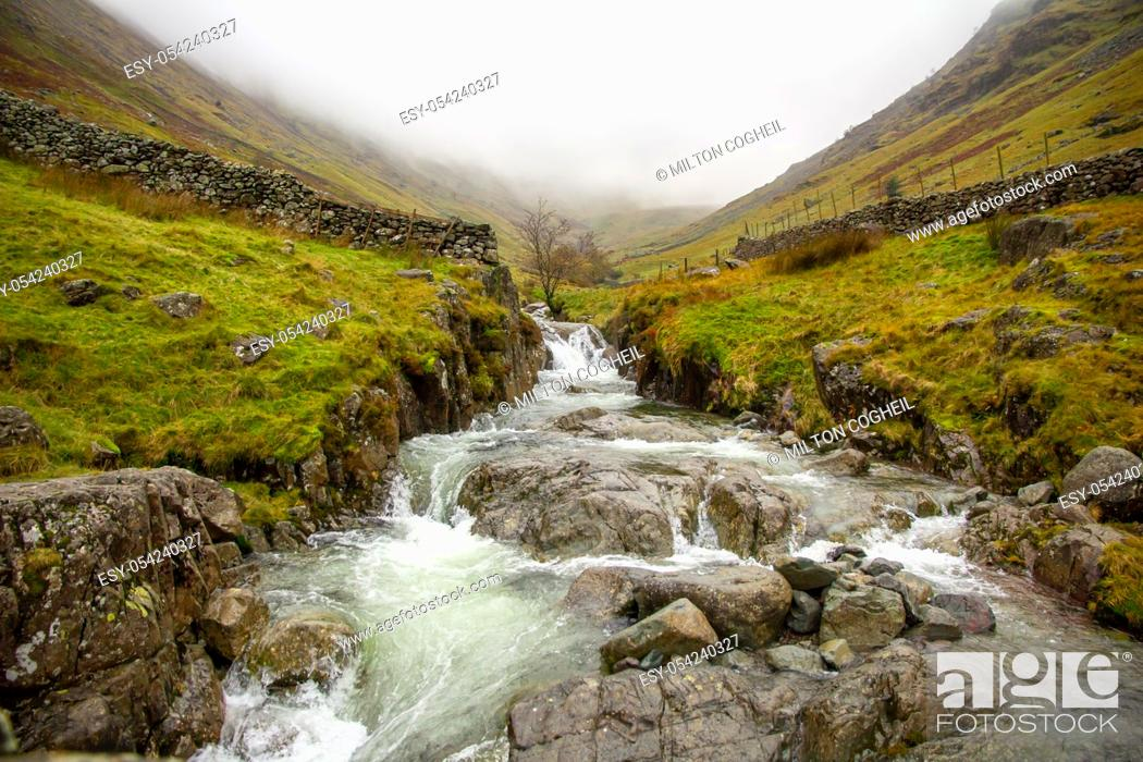 Stock Photo: Lake District landscape in autumnal fog.