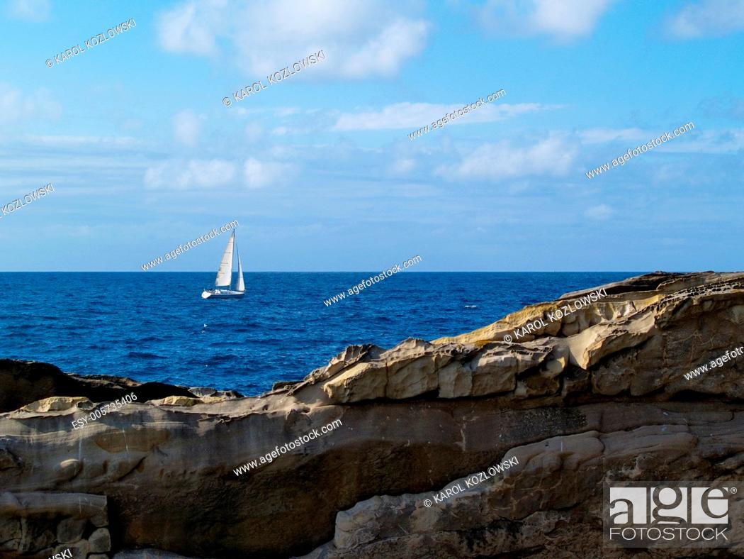 Stock Photo: View from Santa Clara Island in Donostia - San Sebastian, Basque Country, Spain.