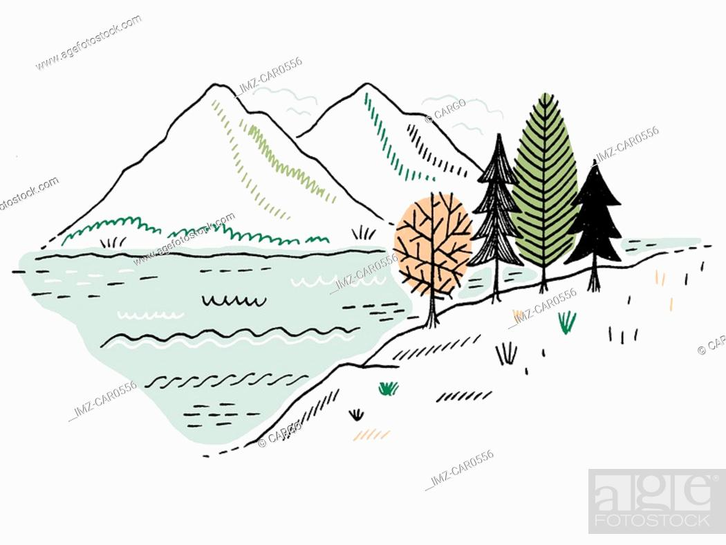 Stock Photo: Trees next to a lake and mountains in the background.