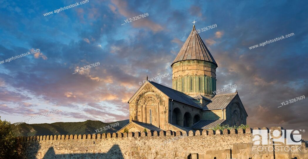 Stock Photo: Pictures & images of the exterior and wall around the Eastern Orthodox Georgian Svetitskhoveli Cathedral (Cathedral of the Living Pillar) , Mtskheta.