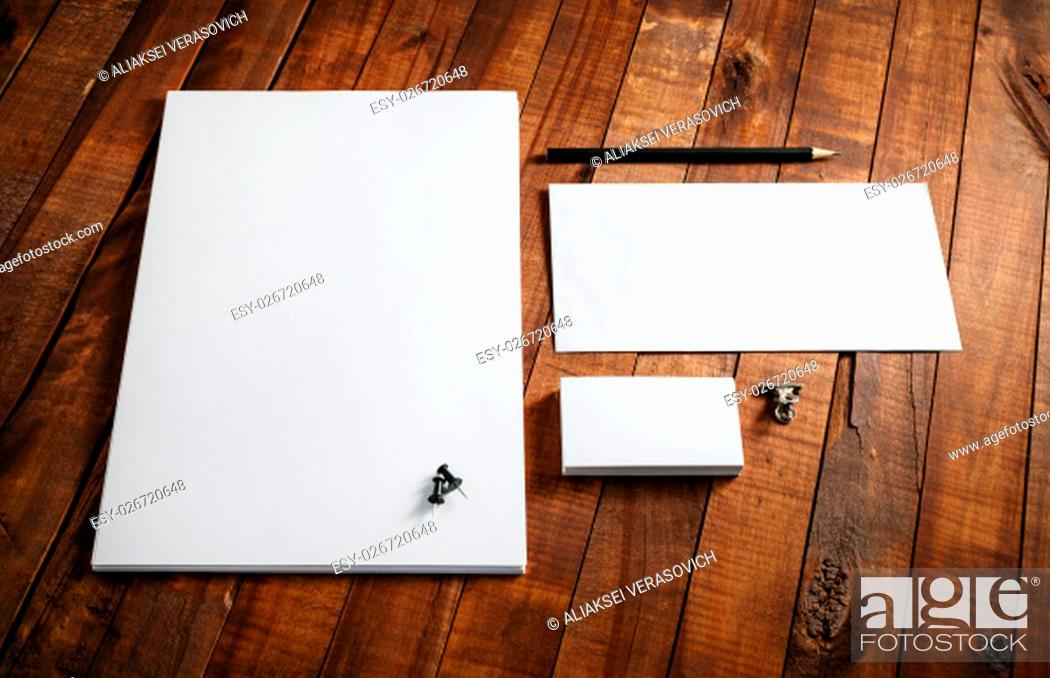 Stock Photo: Blank stationery template. Blank letterhead, business cards, envelope and pencil. Mock-up for design presentations and portfolios.