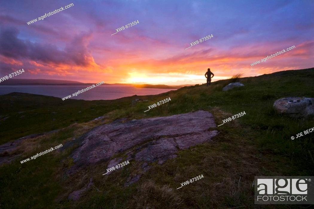 Stock Photo: Watching the sunset over Loch Ewe near Poolewe, Scotland.