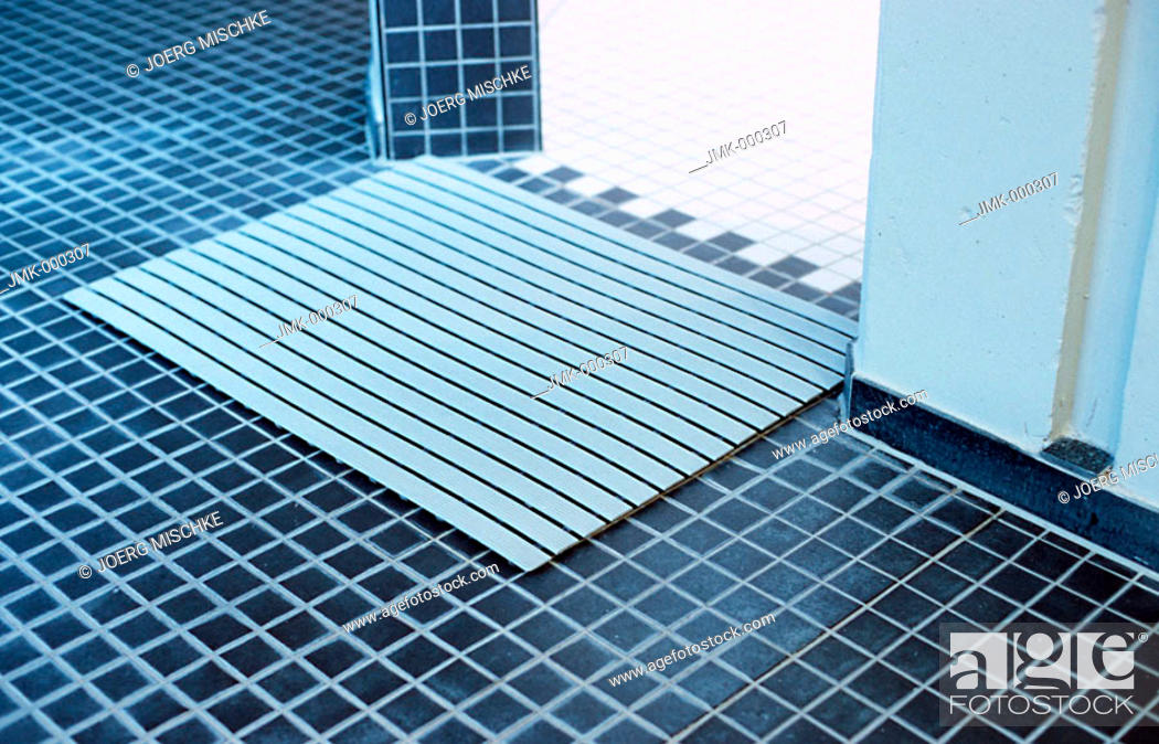 Stock Photo: Doormat in a spa, shower cabin.