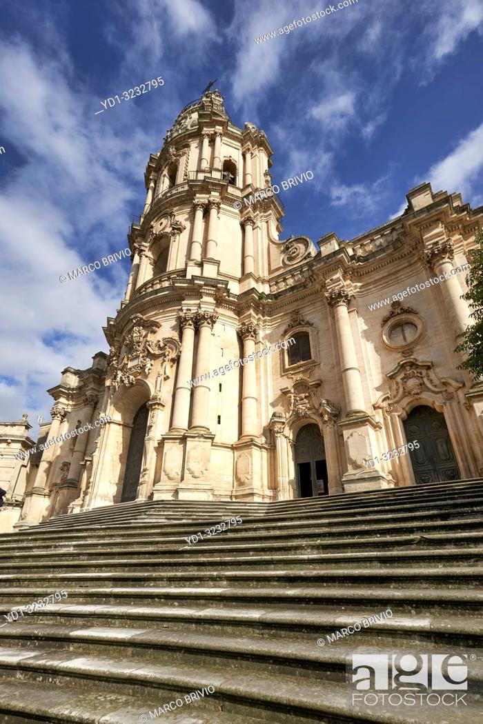 Stock Photo: Duomo of San Giorgio Cathedral in Modica Sicily Italy.
