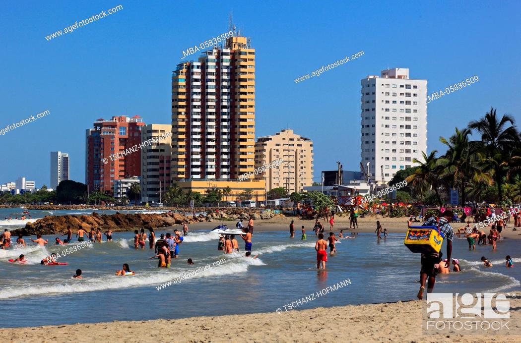 Stock Photo: Republic Colombia, Departamento Bolivar, city of Cartagena de Indias, on the beach of Bocagrande, tourists,.