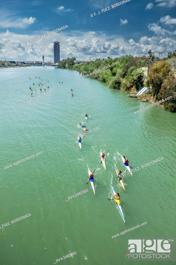 Stock Photo: Kayakers race in Guadalquivir river, Seville, Andalusia, Spain.